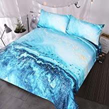 BlessLiving Ocean Blue Green Marble Bedding 3 Piece Faux Gold Glitter Duvet Cover Quicksand Fluid Painting Art Chic Bed Set (Full)