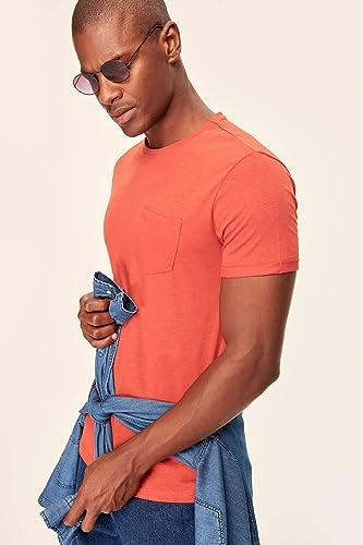 LFNANYI T-Shirt à Manches Courtes en Coton, Sweat Confortable pour Hommes en Coton Orange Homme Orange