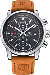 BENYAR Men Watch Chronograph Quartz Analog Fashion Sport 3ATM Waterproof Casual Brown Leather Cuff Business Wrist Watch Gifts for Mens,Father,Son,Friend