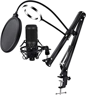 USB Condenser Microphone Professional Cardioid Studio Microphone Kit with Boom, Shock Absorber, LED Fill Light, Popular Fi...