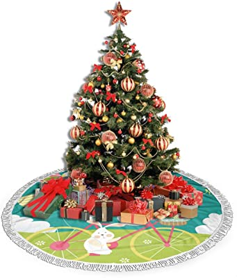 Easter Holiday Easter Rabbit Bunny Eggs Butterflies Spring Flower Christmas Tree Skirt 30 Xmas Tree Skirt for Christmas Decorations Indoor Outdoor