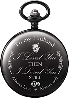 "Treeweto Pocket Watch Valentines Gift for Husband Anniversary Gifts for Men Engraved""to My Husband"" - Gift for Husband from Wife for Birthday Wedding Anniversary"