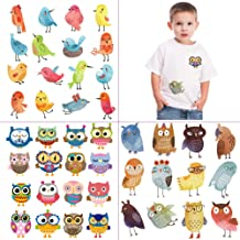 Kids Iron on Stickers Cute Patches 3 Pcs Baby Heat Transfers Appliques with Cartoon Animal Birds Owl DIY Decoration Accessories for T-Shirts Bags Garments Baby Onesies