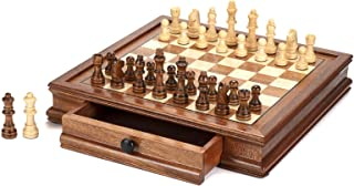 AMEROUS 12.5'' x 12.5'' Magnetic Wooden Chess Set, Chess Board Game with 2 Built-in Storage Drawers - 2 Bonus Extra Queens...