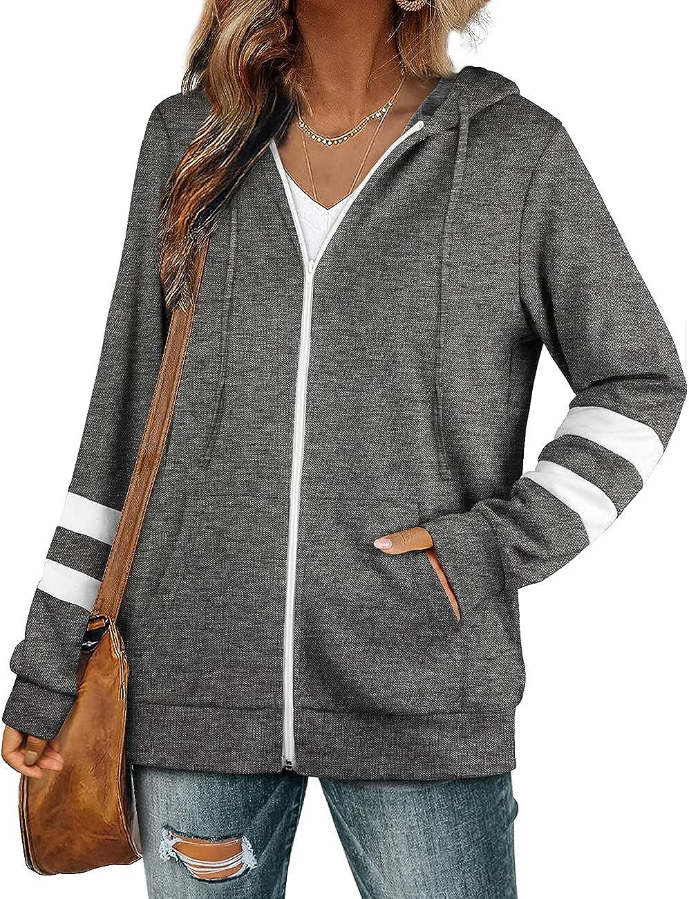 Bofell Womens Active Long Sleeve Zip Up Hoodies with Pocket Hooded Sweatshirts