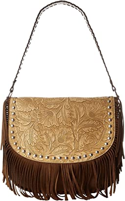 Tooled Fringe Shoulder Bag Small