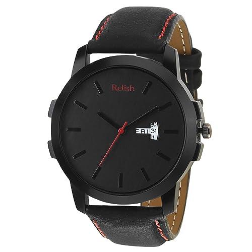 Relish Day N Date Display Analog Black Dial Men's Watch-RE-BR971DD