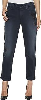 NYDJ Womens MSLE2064 Women's Jessica Boyfriend Jeans with Flower Embroidery Jeans