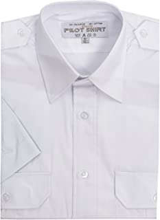 Maan Store Mens Pilot Shirts Short Sleeves Security Bus Driver Shirt with Shoulder Appellate Two Front Pockets