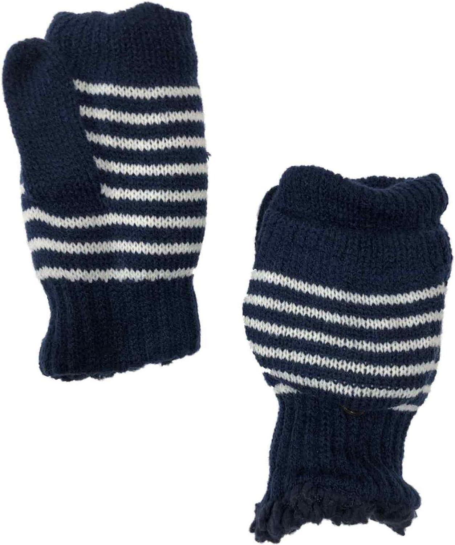 Womens Blue Stripe Knit Convertible Fingerless Flip-Top Gloves Sherpa Mittens