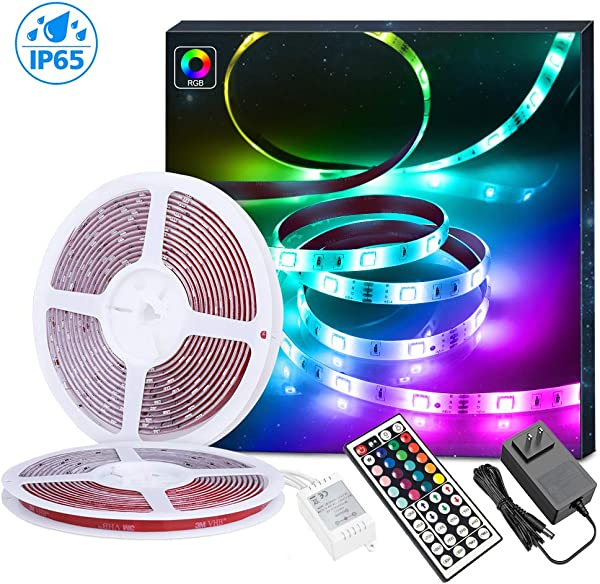 LED Light Strip MINGER Waterproof 32 8ft RGB LED Strip Lights 300 LEDs Rope Strips Kit With 44 Key IR Remote Control Ideal For Room Home Kitchen Party