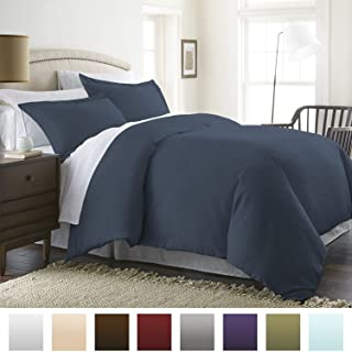 Beckham Hotel Collection Luxury Soft Brushed 1800 Series Microfiber Duvet Cover Set with Zipper Closure - Hypoallergenic - King/Cal King, Navy Blue