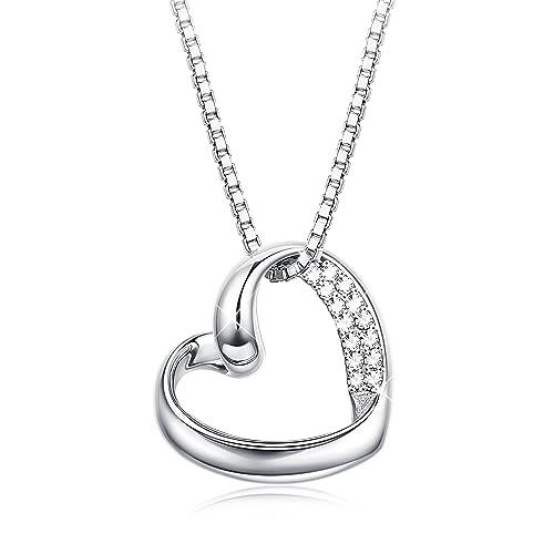 collier argent avec pendentif coeur