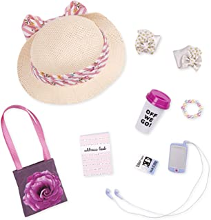Glitter Girls by Battat - 14-inch Doll Clothes - Places To Go Purse & Accessory Set - Floral Hat, Music Player, Travel Mug...