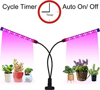 LED Grow Light Cycle Timer(3/9/12 hrs) 3 Lighting Mode and 5 Level Dimmable Flexible Gooseneck Clip On Grow Plant Lamp for Indoor Plant,Succulent,Herbs,Veg and Flower Hydroponics in Greenhouse,Garden