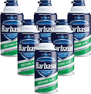 Barbasol Soothing Aloe Thick and Rich Shaving Cream for Men, 10 oz (Pack of 6)