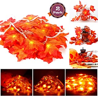Acekid 2 Pack Maple Leaves String Lights, 40 LED Bulbs 19.6ft Fall Garland Decoration Lights, Idea for Halloween, Thanksgiving days, Christmas and Birthday Party Indoor Outdoor Decorations