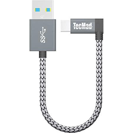 USB a to USB c Cable TecMad 90 Degree Plug Nylon Braided Type C to USB 3.0 Cable for New MacBook,Nexus 5X,Samsung S20 S10 s9 s8 Note 9,LG V30 V20 G6 G5,Hero 6/5,DJI Mavic Pro Drone-0.8ft/0.25m Grey