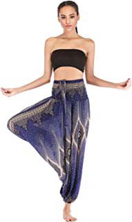 OMZIN Women's Elastic Waist 2 in 1 Casual Baggy Yoga Colorful Trousers Jumpsuit