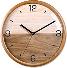 "Modern Wood Wall Clock 12"" Silent Non Ticking Analog Wall Clocks Battery Operated For Living Room Decor, Pine Wood Frame With Dome Glass Cover Large Decorative Digital Wall Clock"