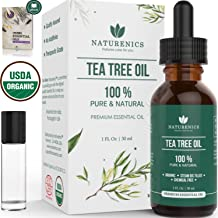 Naturenics Premium 100% Organic Tea Tree Essential Oil -Undiluted Pure USDA Certified Melaleuca Alternifolia Therapeutic Grade - For Toenail Fungus & Acne Treatment - Roll On & eBook