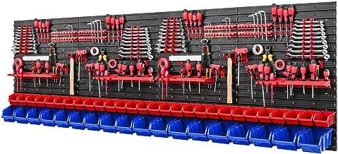Gereedschapswand stapelboxen - 2304 x 780 mm - opslagsysteem SET gereedschapshouders en 46 rood/blauwe dozen - wandrek wer...