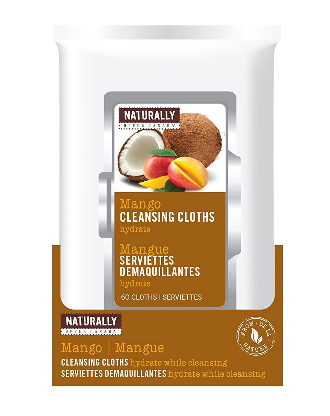 Naturally by Upper Canada 60-Count Cleansing Makeup Remover Facial Wipes, Mango and Coconut