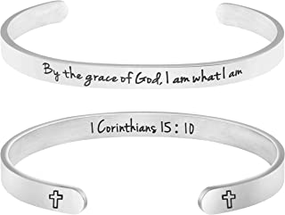 Christian Bracelet for Women Girls Religious Jewelry Gift Engraved by The Grace of God I am What I am