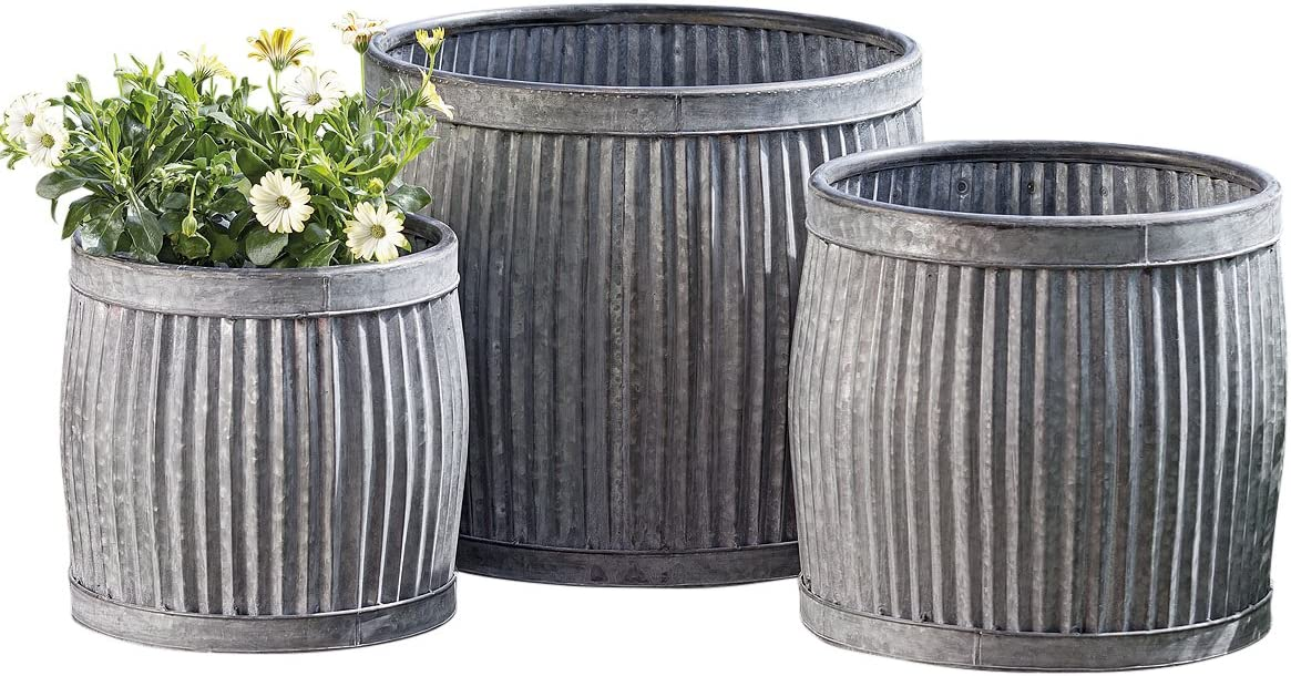 Amazon Com Whw Whole House Worlds French Country Style Belly Bucket Planters Set Of 3 Galvanized Metal Corrugated Cache Pots Rustic Wash Basin From Over 1 Ft Diameter 17 12 Inches Home Kitchen