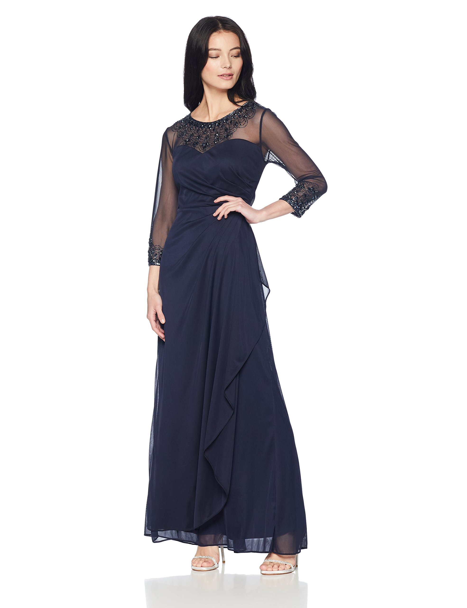 Mother Of The Bride Dresses - Women's Long A Line Illusion Sweetheart Neck Dress (Petite And Regular)