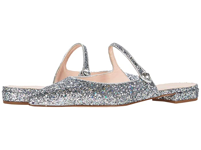 J.Crew  Glitter Button Tab Harlech Mule (Mint Silver Glitter) Womens Flat Shoes