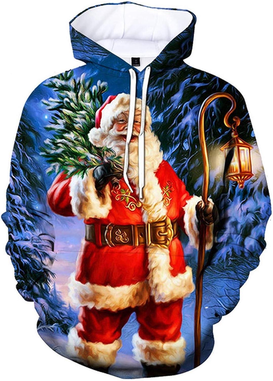FUNEY Unisex Realistic 3D Digital Printed Long Sleeve Pullover Hooded Christmas Printing Pattern Blouse Sweatshirt Hoodies