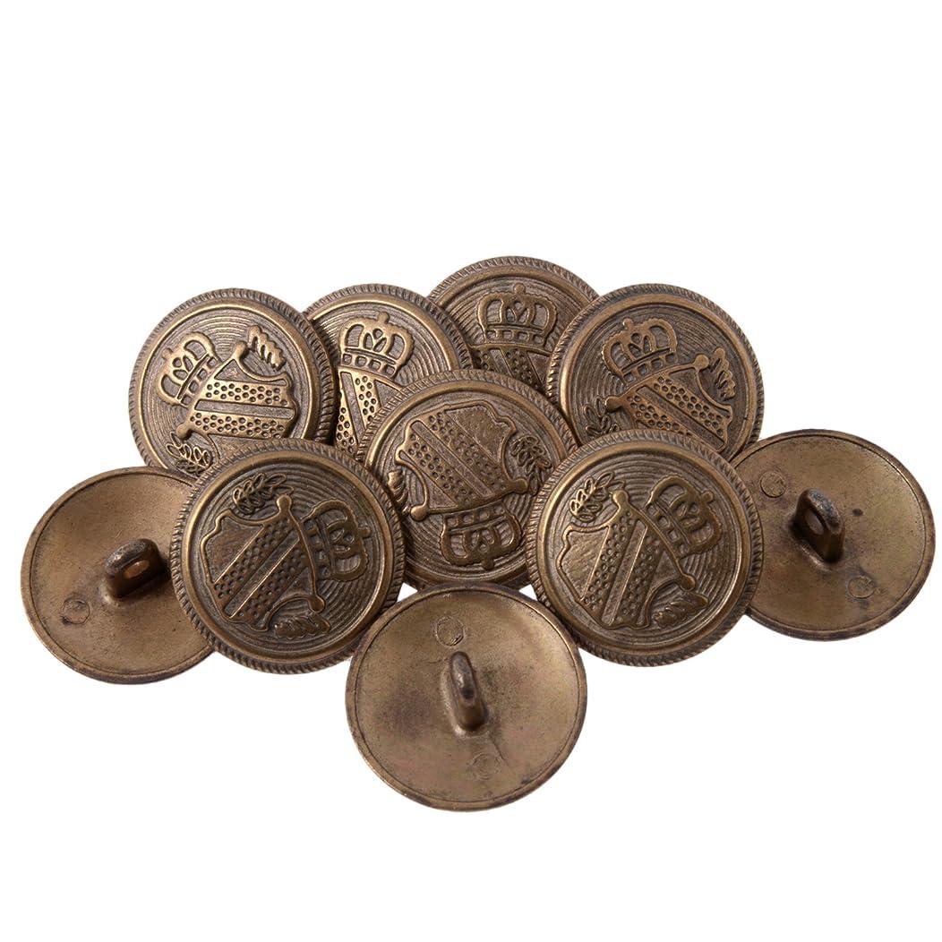 Zinc Diecast Metal Shank Button - Heraldic Shield with Crown - 36 Line - Antique Brass