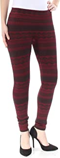 ee6f150accab7 PINK ROSE Womens New 1273 Burgundy Printed Fleece Skinny Leggings S Juniors  B+B
