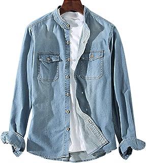 [ラッキーチャーム] バンドカラー デニムシャツ 両ポケット ウッド調ボタン 長袖 メンズ