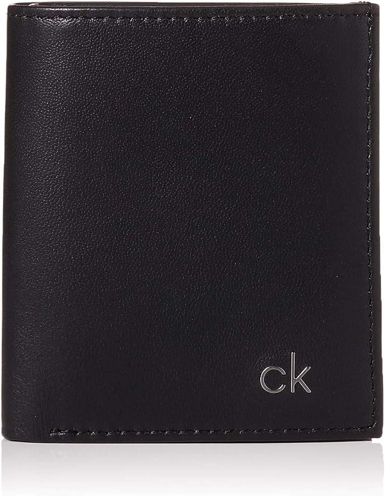 Calvin klein portafoglio porta carte di credito da uomo in vera pelle K50K504297