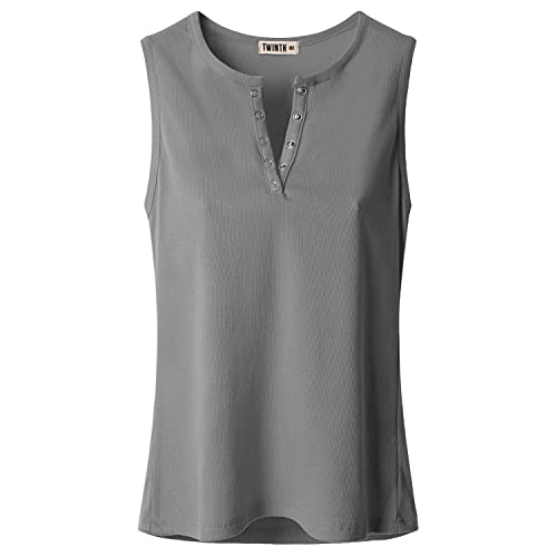 d27e2e8397170b Doublju Women Fasionable Button Point Sleeveless Big Size Top GRAY