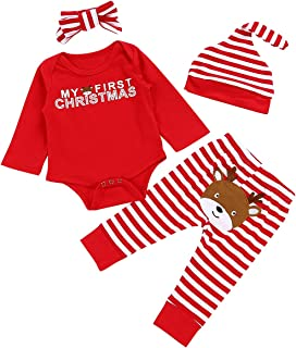 Christmas 4Pcs Outfit Set Baby Girls Boys My First...