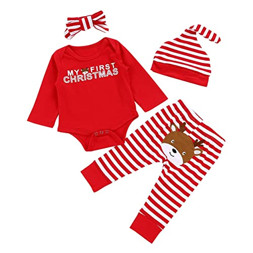 e902d9462082 Christmas 4Pcs Outfit Set Baby Girls Boys My First Christmas Rompers