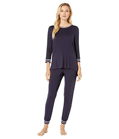 Donna Karan Long Sleeve Tee Jogger Pajama Set (Ink) Women