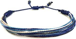 RUMI SUMAQ Custom Sized Surfer String Bracelet for Men Blue Gray White w Hematite Stones Handmade Woven Rope Adjustable
