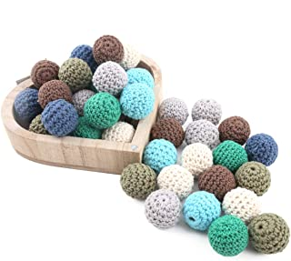 Baby Love Home Crochet Wooden Beads Handmade DIY Teething Necklace Bangle 20mm 50pc Organic Natural Wood Toy Baby Wooden Teether Necklace Accessories