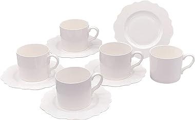 ドルチェデュオ カップ ソーサー 白 ホワイト 無地 コーヒーカップ 来客用 接客用 5客 210ml DAM-147