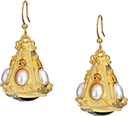 Gold Triangle with White Pearl Cabs Top/Jet Bottom Fishhook Earrings