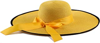 Womens Big Bowknot Straw Hat Silk Foldable Roll up Sun Hat Adjustable Beach Cap