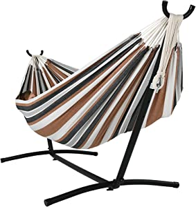 Sunnydaze Extra Large Brazilian Hammock with Stand & Carrying Bag - Large Two Person Hammock with Brazilian Stand - 400 Pound Capacity - Calming Desert