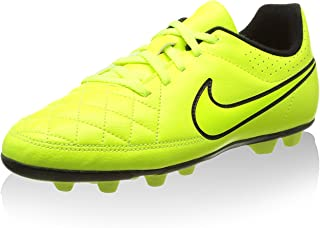 NIKE JR TIEMPO RIO II FG-R Youth Molded Soccer Cleats Yellow Punch Black 3 Y