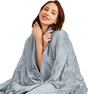 Hiseeme Soft Weighted Blanket Adult 18lbs (60''x80'', Queen Size) Luxury Minky Material with Glass Beads - Grey