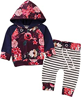 XEDUO Newborn Infant Baby Girl Boy Feather Hoodie Sweatshirt Tops+Pants Set Clothes