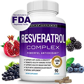 Sponsored Ad - Resveratrol Supplement 1200 mg Antioxidant Complex - Highly Potent Natural Trans-Resveratrol Pills for Anti...